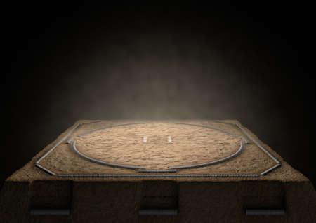 Eine 3D-Darstellung von einem leeren traditionellen Sumo Wrestling-Ring mit Sand schwach von Scheinwerfern auf einem dunklen Hintergrund beleuchtet