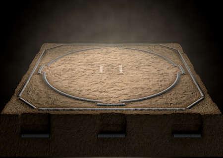 Un rendering 3D di un anello tradizionale sumo wrestling vuoto realizzato con sabbia fiocamente illuminata da riflettori su uno sfondo scuro