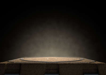 wrestle: A 3D render of an empty traditional sumo wrestling ring made with sand dimly lit by spotlights on a dark background