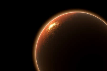backlighting: A 3D render of mars planet with the sun backlighting it on and lit up colonized settliement area illuminating on the surface on a dark isolated background