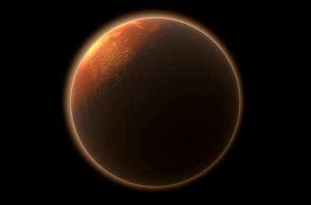 backlighting: A 3D render of mars planet with the sun backlighting it on a dark isolated background