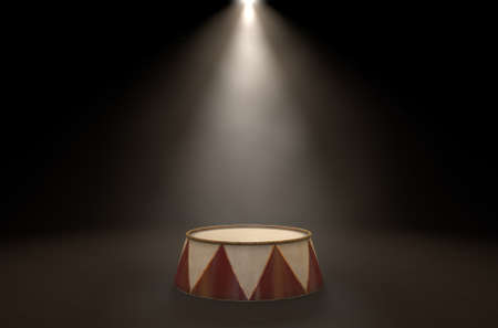 A 3D render of an empty ringmasters podium backlit by dramatic spot lights on a dark classic circus arena background
