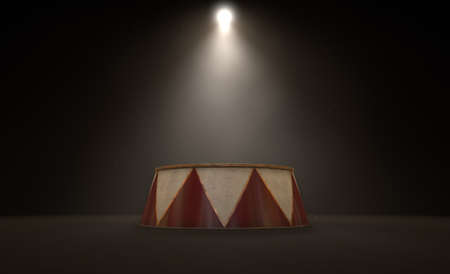 circus stage: A 3D render of an empty ringmasters podium backlit by dramatic spot lights on a dark classic circus arena background