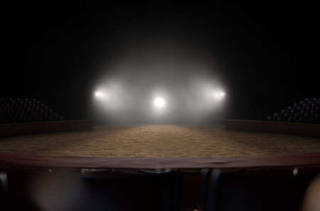 A 3D render of an empty classic circus arena backlit by dramatic spot lights on a dark moody background