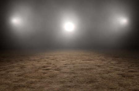 暗い不機嫌な背景に劇的なスポット ライトによって空の古典的なサーカス アリーナのバックライト付きの 3 D レンダリング 写真素材