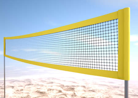 mesh: A 3D render of a regular volleyball net on a beach and blue sky background