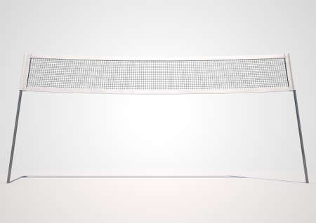 A 3D render of a regular volleyball net on an isolated white background