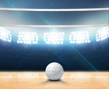 A 3D rendering of an indoor volleyball court with a net and ball on a wooden floor under illuminated floodlights