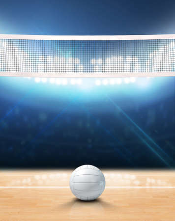 A 3D rendering of an indoor volleyball court with a net and ball on a wooden floor under illuminated floodlights Stock fotó - 63457147