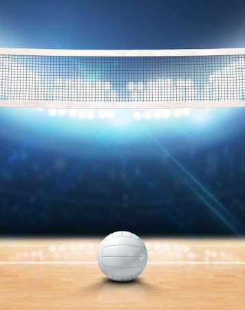 Eine 3D-Rendering eines Innen-Volleyballplatz mit Netz und Ball auf einem Holzboden unter beleuchteten Scheinwerfern Standard-Bild - 63457147