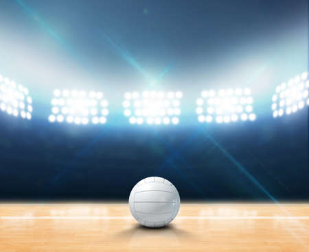 floodlit: A 3D rendering of an indoor volleyball court and ball on a wooden floor under illuminated floodlights