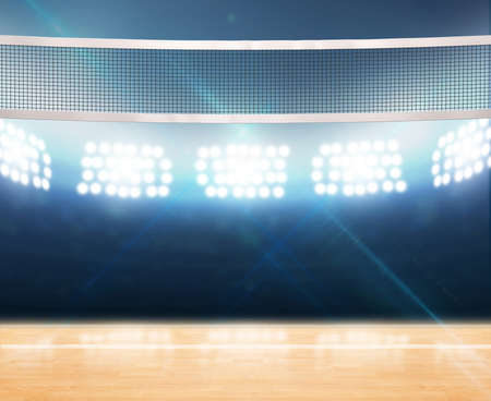 A 3D rendering of an indoor volleyball court with a net on a wooden floor under illuminated floodlights