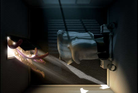 child bedroom: A 3D render of a dimly lit childs bedroom with an octopus like beast with tentacles reaching from behind the open door while a child sleeps in its bed