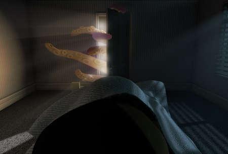 Un rendu 3D d'une chambre d'enfant faiblement éclairé avec une pieuvre comme bête avec des tentacules atteignant derrière la porte ouverte tandis qu'un enfant dort dans son lit