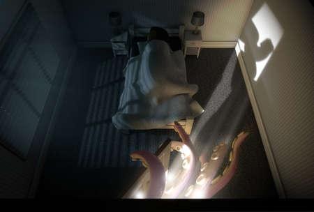 Un rendering 3D di una camera da letto bambino poco illuminata con un polipo come bestia con tentacoli che raggiungono da dietro la porta aperta mentre un bambino dorme nel suo letto