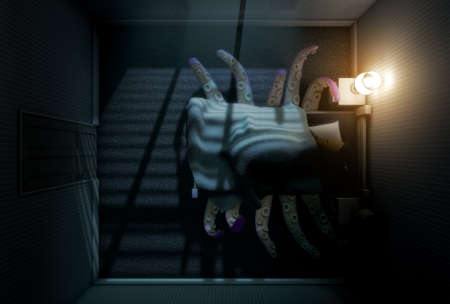 hallucination: A 3D render of a dimly lit childs bedroom with an octopus like beast with tentacles reaching from under the bed while a child sleeps in it Stock Photo
