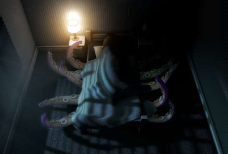 under the bed: A 3D render of a dimly lit childs bedroom with an octopus like beast with tentacles reaching from under the bed while a child sleeps in it Stock Photo