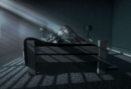 blanket: A 3D render of a person sleeping under the covers of a bed with bright moonlight illuminating through blinds and a cellphone charging on a bed side table