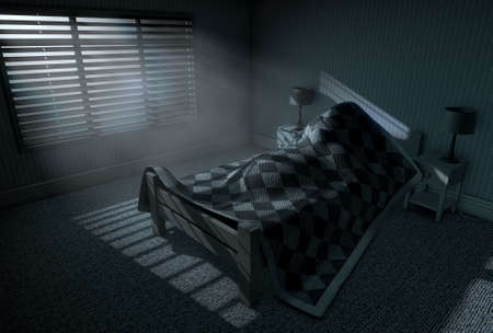 under the bed: A 3D render of a person sleeping under the covers of a bed with bright moonlight illuminating through blinds and a cellphone charging on a bed side table