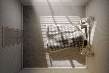siesta: A 3D render of a person sleeping under the covers of a bed with bright morning sunlight illuminating through blinds and a cellphone charging on a bed side table Stock Photo