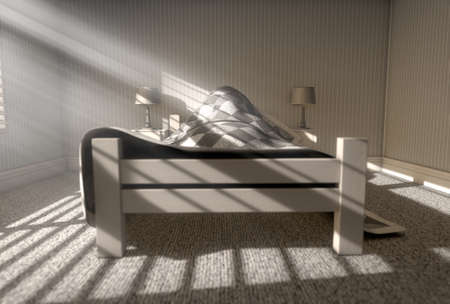 side table: A 3D render of a person sleeping under the covers of a bed with bright morning sunlight illuminating through blinds and a cellphone charging on a bed side table Stock Photo