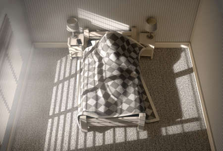 blanket: A 3D render of a person sleeping under the covers of a bed with bright morning sunlight illuminating through blinds and a cellphone charging on a bed side table Stock Photo