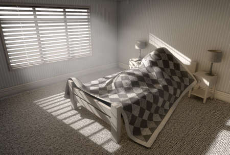 under the bed: A 3D render of a person sleeping under the covers of a bed with bright morning sunlight illuminating through blinds and a cellphone charging on a bed side table Stock Photo