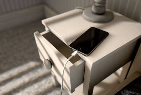 A 3D render of a bedroom with a side table next to a bed and a cellphone charging on it in the bright morning sunlight 写真素材