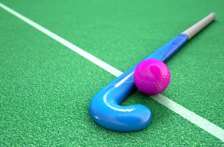 opposing: A 3D rendering of a hockey stick and ball on green artificial grass in the daytime