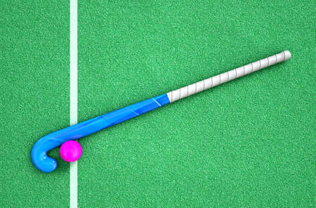 hockey cesped: A 3D rendering of a hockey stick and ball on green artificial grass in the daytime