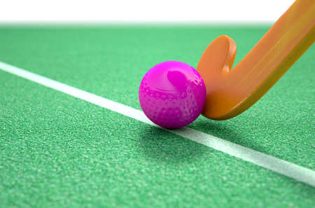 field hockey: A 3D rendering of a hockey stick and ball on green artificial grass in the daytime