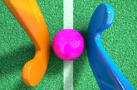 opposing: A 3D rendering of two hockey sticks stadning opposite each other over a ball on green artificial grass in the daytime