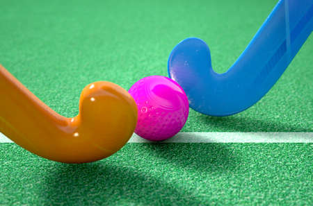 hockey cesped: A 3D rendering of two hockey sticks stadning opposite each other over a ball on green artificial grass in the daytime