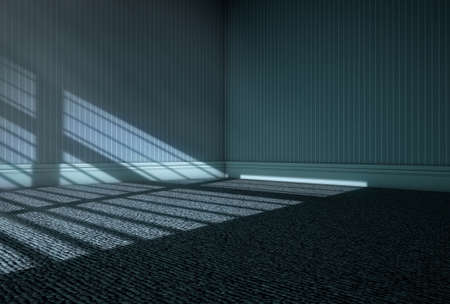 noche y luna: Una representación 3D de una habitación vacía con la luz de la luna que ilumina a través de persianas