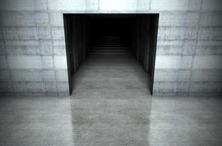 look down: A 3D rendering of a look down into a concrete stadium player entrance Stock Photo