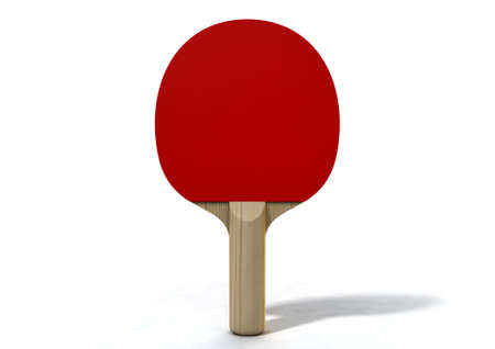 Un rendering 3d di una pagaia di ping-pong rossa su uno sfondo bianco isolato studio