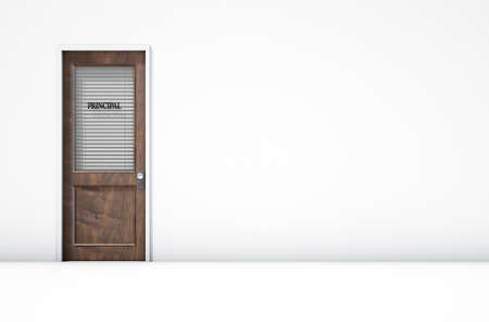 A 3D render of a wooden door with a glass section covered by a closed shutter with the word principal written on it on an isolated white room background