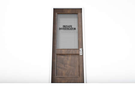 private investigator: A 3D render of a wooden door with a glass section covered by a closed shutter with private investigator written on it on an isolated white room background
