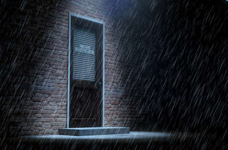 private investigator: A 3D render of a wooden door on a face brick building covered by a closed shutter with private investigator written on it highlighted by an overhead spotlight in the rain Stock Photo