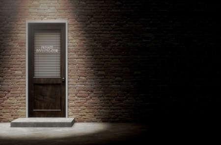Un rendu 3D d'une porte en bois sur un bâtiment en briques visage couvert par un volet fermé avec enquêteur privé écrit sur elle mis en évidence par un projecteur de tête Banque d'images - 62701301