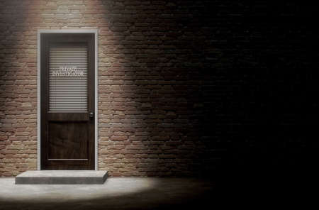 A 3D render of a wooden door on a face brick building covered by a closed shutter with private investigator written on it highlighted by an overhead spotlight
