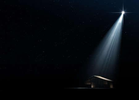 キリスト誕生のキリスト降誕のシーンをベツレヘムで暗黒星明かりの夜背景に明るい星によって彼らをされている分離安定版の抽象的な描写の 3 D レ