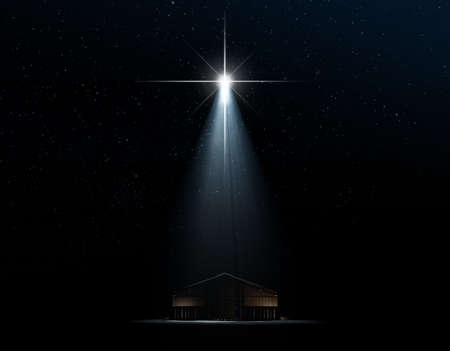 A 3D render of an abstract depiction of the nativity scene of christs birth in bethlehem with an isolated stable being spotlit by a bright star on  dark starry night background Stock Photo