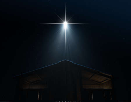 A 3D render of an abstract depiction of the nativity scene of christs birth in bethlehem with an isolated stable being spotlit by a bright star on  dark starry night background Standard-Bild