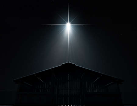 A 3D render of an abstract depiction of the nativity scene of christs birth in bethlehem with an isolated stable being spotlit by a bright star on  dark starry night background Stockfoto