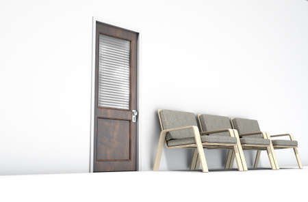 anticipate: A 3D render of a wooden door with a glass section covered by a closed shutter lined with modern wooden chairs on an isolated white room background
