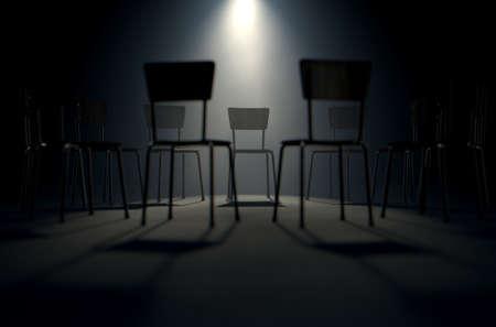 terapia de grupo: Un concepto de procesamiento 3D de un grupo de sillas en una formación circular con una silla de relieve por un solo punto de mira de mal humor sobre un fondo oscuro