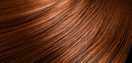 A 3D render of a closeup view of a bunch of shiny straight ginger hair in a wavy curved style Stock Photo