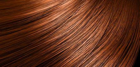 Una representación 3D de una vista de cerca de un montón de brillante pelo rojo recto en una curva ondulada estilo