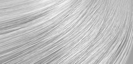 A 3D render of a closeup view of a bunch of shiny straight grey hair in a wavy curved style Imagens